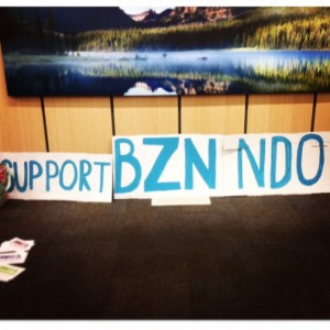 The Support Bozeman NDO sign sitting below a picture of Bozeman outside of the hearing room.